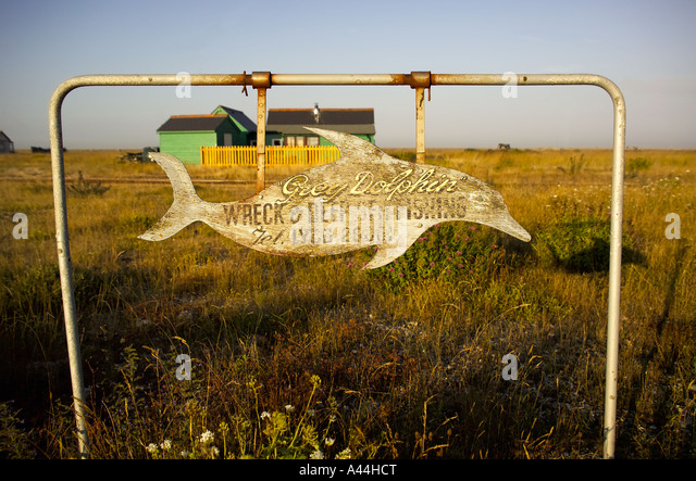 Grey Dolphin Sign, Dungeness, Kent, UK - Stock Image