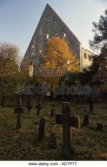 Estonia Tallin Pirita Cloister cemetery Christian cross gravestones - Stock Image