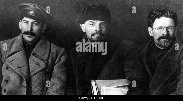 Russian revolutionaries and leaders Stalin, Lenin, and Mikhail Ivanovich Kalinin at the Congress of the Russian - Stock Image