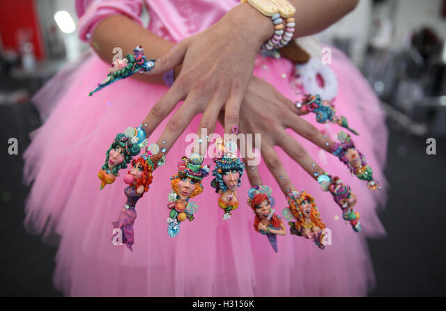 Kensington Olympia, London 3 Oct 2016 - Modelling for Fantasy Nails.  Thousands of visitors attend day two of the - Stock Image