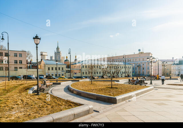 First warm day in Moscow, Russia. April 8, 2016. First really warm day of spring in Moscow. The temperature +14 - Stock Image