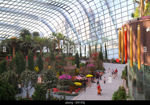Singapore Gardens by the Bay park Flower Dome greenhouse - Stock Image