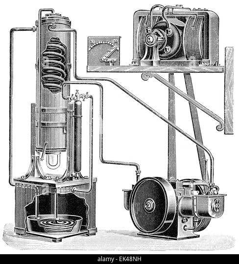 Apparatus for liquefying gas mixtures in the Linde process by Carl Paul Gottfried Linde; 1842 - 1934; a German engineer - Stock Image