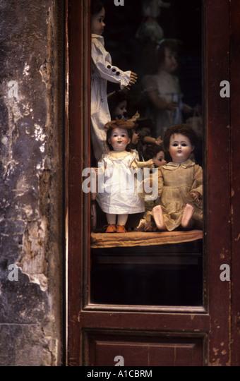 nostalgic nostalgy symbol antique antiquity dolls shop - Stock Image
