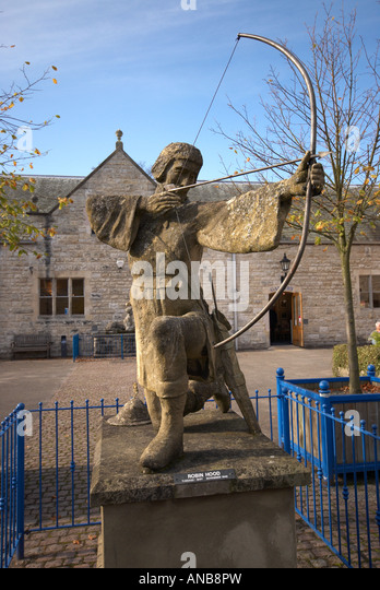 The famous English character outlaw Robin Hood Statue Thorsby Hall Park Nottinghamshire UK - Stock Image