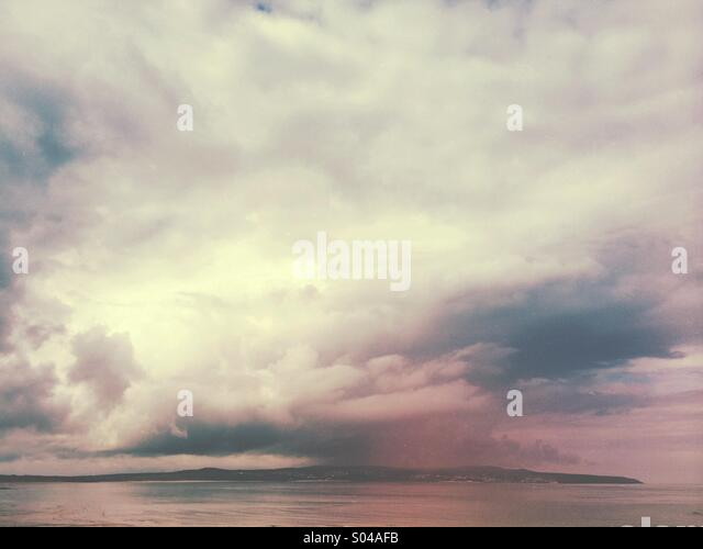 Stormfront approaching over the North Atlantic Ocean. - Stock Image