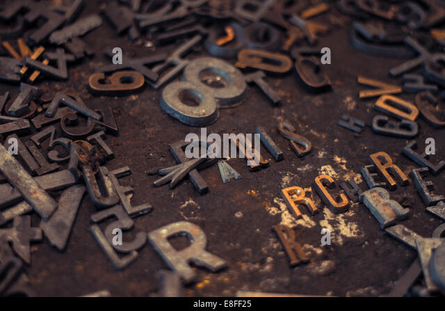Paris in metal letters - Stock Image