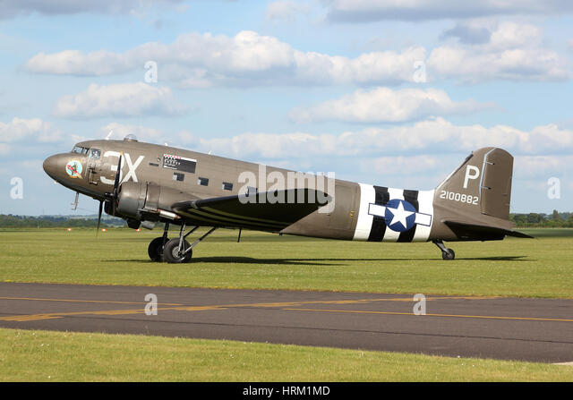 One of four DC-3/C-47 variants present at the Duxford 2014 Spring air show to commemorate the 70th anniversary of - Stock Image
