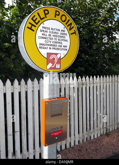 Help point train information at Slateford Scotrail railway station near Edinburgh an un-manned station - Stock Image