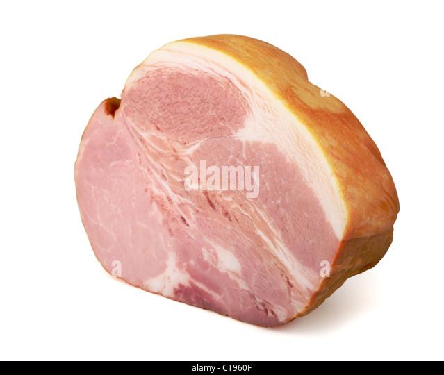 Big piece of pork ham isolated on white - Stock Image