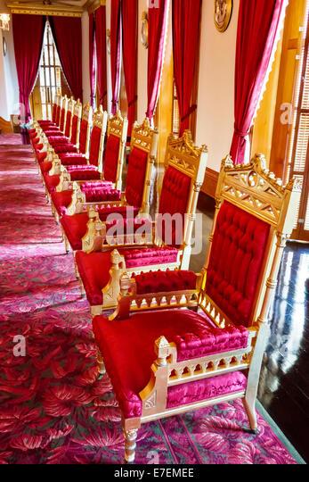 Hawaii Oahu Hawaiian Honolulu Iolani Palace inside interior chairs - Stock Image