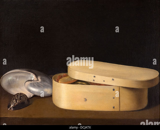 17th century  -  Still Life with a Nautilus, Panther Shell, and Chip-Wood Box - Sebastien Stoskopff (1630) Oil on - Stock Image