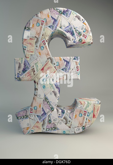 Model of pound sign wallpapered with British bank notes - Stock Image