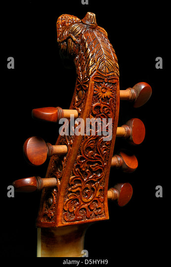 Neck and pegs of a seven-string bass viola da gamba - Stock Image