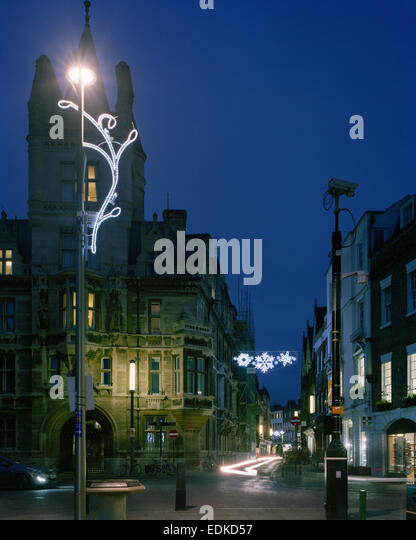 Gonville & Caius College Cambridge with Christmas illuminations - Stock Image
