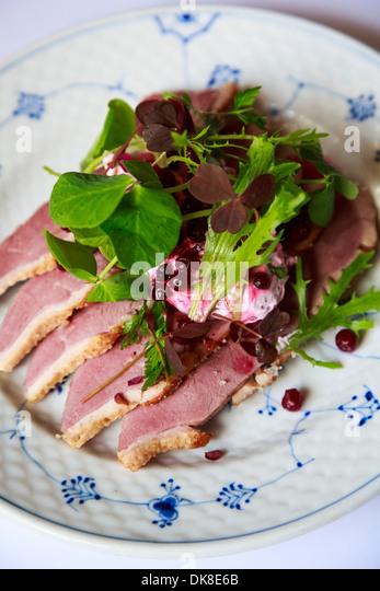 Smorrebrod, a Danish open sandwich at Restaurant Schonnemann Serving traditional Danish food, Copenhagen, Denmark - Stock Image