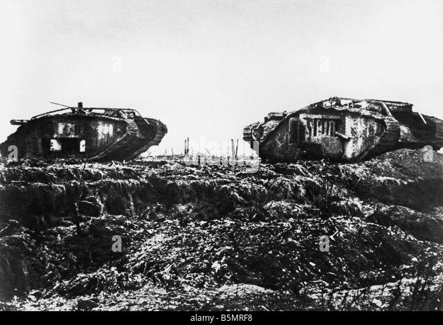 9 1917 11 20 A2 E Tank Battle near Cambrai Engl Tanks World War One 1914 18 Western Front Tank battle near Cambrai - Stock-Bilder