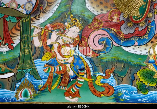 Lord Krishna Tibetan Buddhist painting Bhutia Busty Monastery Darjeeling - Stock Image