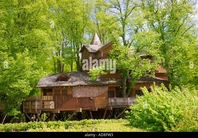 Tree House at Alnwick Gardens Northumberland UK - Stock-Bilder