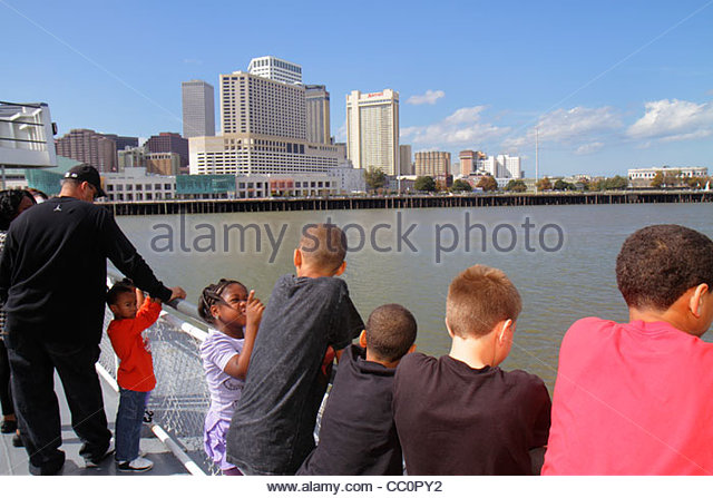 New Orleans Louisiana Mississippi River Algiers Canal Street Ferry CCCD ferryboat navigation public transportation - Stock Image