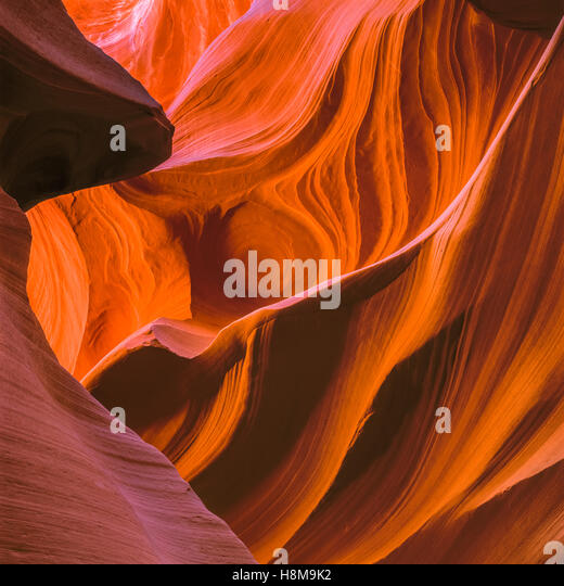 swirling sandstone in lower antelope canyon near page, arizona - Stock Image