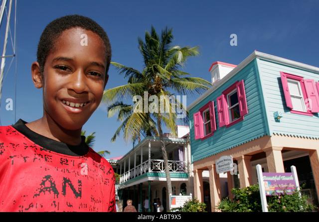 BVI Tortola Frenchmans Cay Soper's Hole Wharf and Marina Black boy - Stock Image