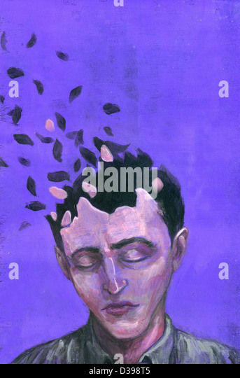 Illustrative image of man with scattered head representing Alzheimer's disease - Stock Image