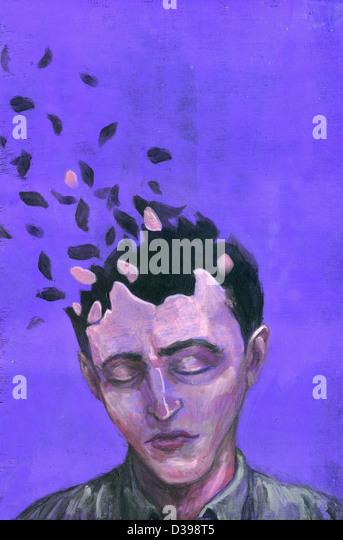 Illustrative image of man with scattered head representing Alzheimer's disease - Stock-Bilder