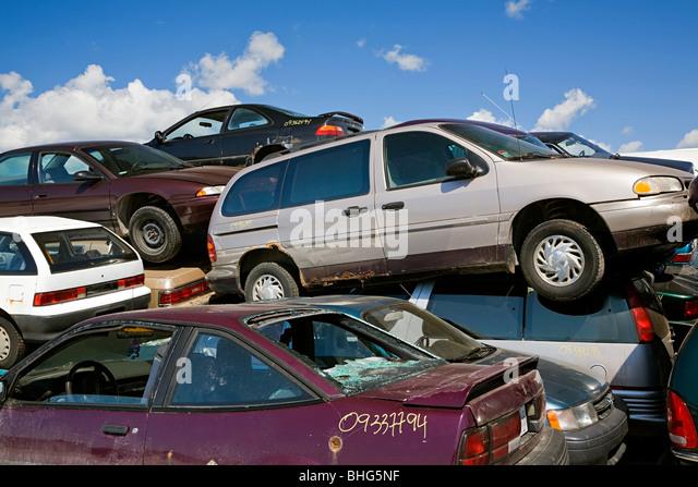 Cars in scrap yard - Stock Image
