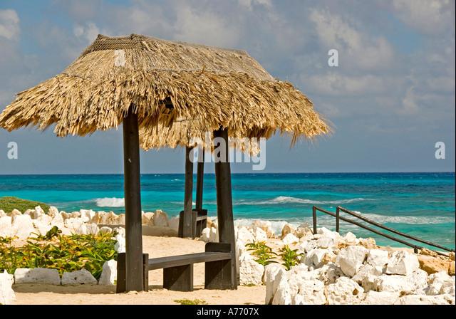 Mexico Cozumel Punta Sur ecological park palapa - Stock Image