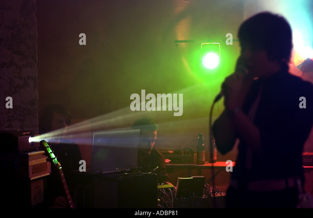 Band playing life at a Leipzig Club - Stock Image
