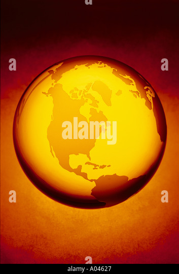 Globe crystal globe showing North America - Stock Image