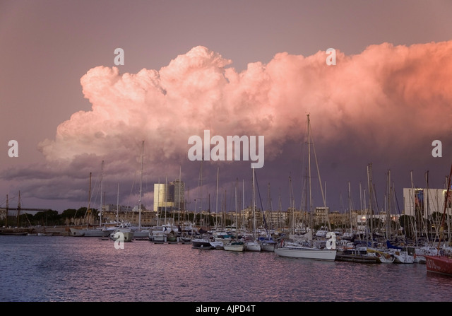 Barcelona Port Vell sunset - Stock Image