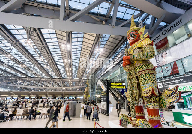 New Suvarnabhumi Airport , New Hub of South East Asia , Huge Statue Guard, Statue, Bangkok, Asia - Stock Image