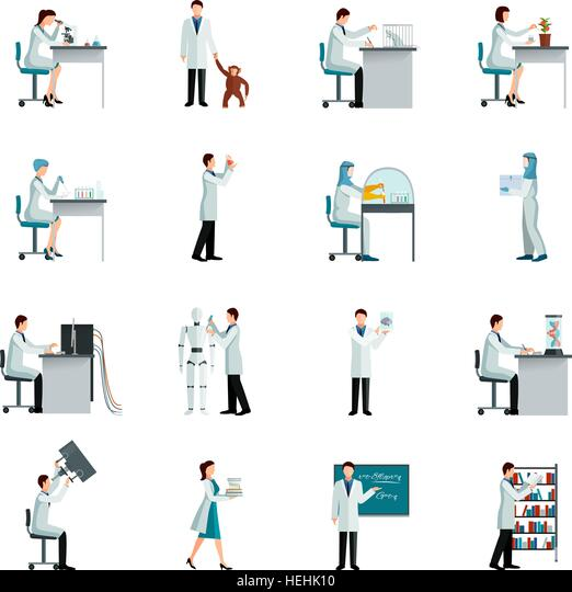 Scientist Decorative Icons Set. Scientists decorative flat color icons set with men and women doing research in - Stock-Bilder
