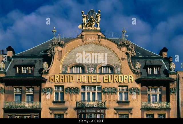 Czech Republik Prague Grand Hotel Europe art nouveau facade - Stock Image