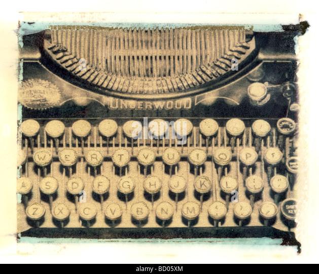 Antique Underwood typewriter artistic Polaroid transfer technique - Stock Image