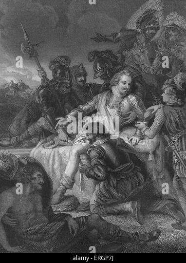 Death of Sir Philip Sidney. Fatally wounded by a musket shot at the  Battle of Zutphen in the Netherlands, Sidney - Stock Image