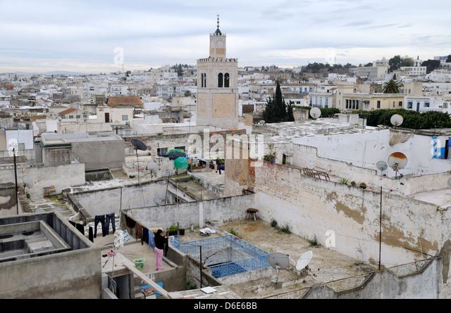 Rooftops of Tunis Medina Tunisia - Stock Image