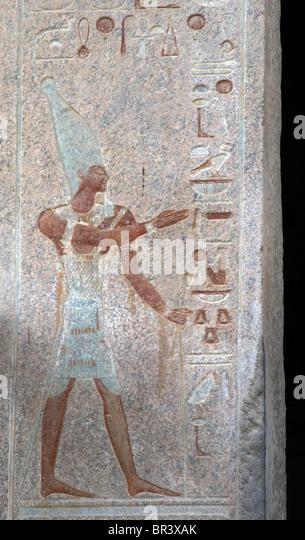 Polychrome relief depicting a pharaoh. Temple of Hatshepsut. New Kingdom. Eighteenth Dynasty. Deir el-Bahari. Egypt. - Stock Image