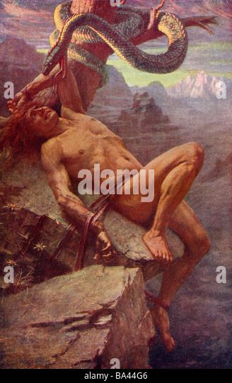 The Punishment of Loke. Norse mythology - Stock Image