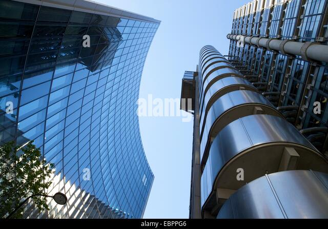 Lloyds and Willis buildings, financial district, City of London, England, United Kingdom, Europe - Stock-Bilder