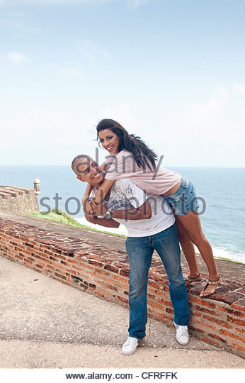 Hispanic couple at Cristobal Castle, Old San Juan, Puerto Rico, United States of America, Central America - Stock Image