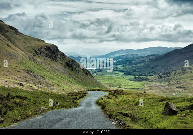 Wrynose Pass in Lake District UK looking towards Little Langdale Tarn - Stock Image