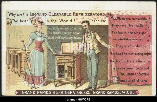 Why are the Leonard cleanable refrigerators the best in the world_ (front) - Home Furnishings Trade Cards - Stock Image