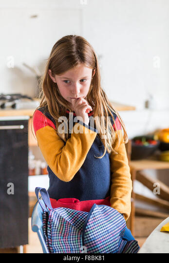 9-year-old girl. - Stock Image