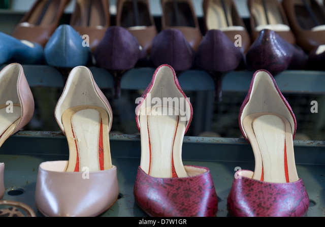 Shoe models at the pattern making laboratory at Cercal footwear school, San Mauro Pascoli, Emilia-Romagna, Italy - Stock Image