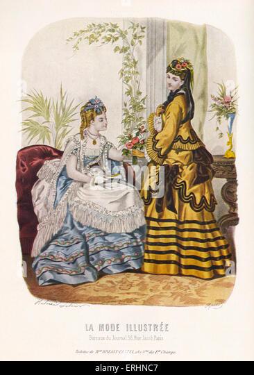 La Mode Illustrée - 2 young women in 19th century fashion. Toilettes de Mme Breant-Castel. Advert for dress - Stock-Bilder