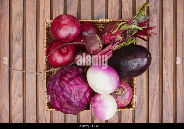Close up of basket of produce - Stock Image