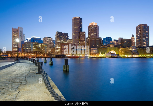 USA Boston Massachusetts Skyline viewed from Fan Pier - Stock Image